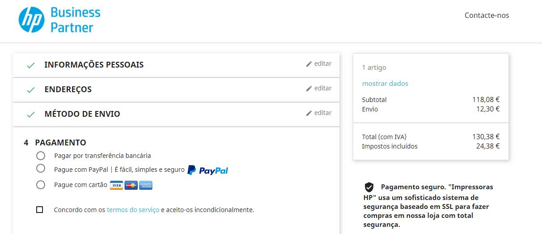 pagamento impressoras hp